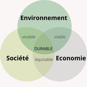 Schéma avec trois cercles représentant les pilliers du développement durable (environnement, socité et économie) qui se croisent deux à deux dans une valeur et qui au centre donnent le développement durable. L'environnement et la société se croisent sur la valeur vivable. L'environnement et l'économie se croisent sur la valeur équitable. La société et l'économie se croisent sur la valeur équitable.